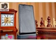 Фирменный оригинальный вертикальный откидной чехол-флип для Nokia Lumia 520 черный из качественной импортной к..