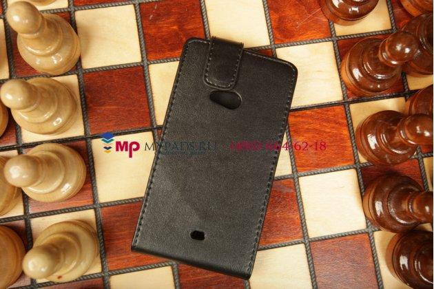 Вертикальный откидной чехол-флип для nokia lumia 625 черный кожаный