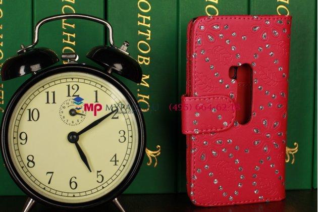 Чехол-книжка для nokia lumia 920 розовый со стразами кожаный