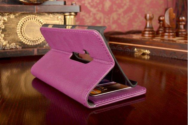 Чехол-книжка из качественной импортной кожи с подставкой застёжкой и визитницей для нокиа люмия 920/nokia lumia 920 фиолетовый