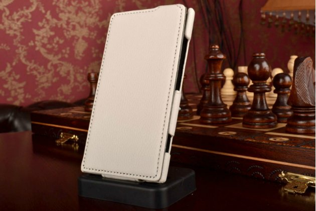 Вертикальный откидной чехол-флип для nokia lumia 920 белый кожаный
