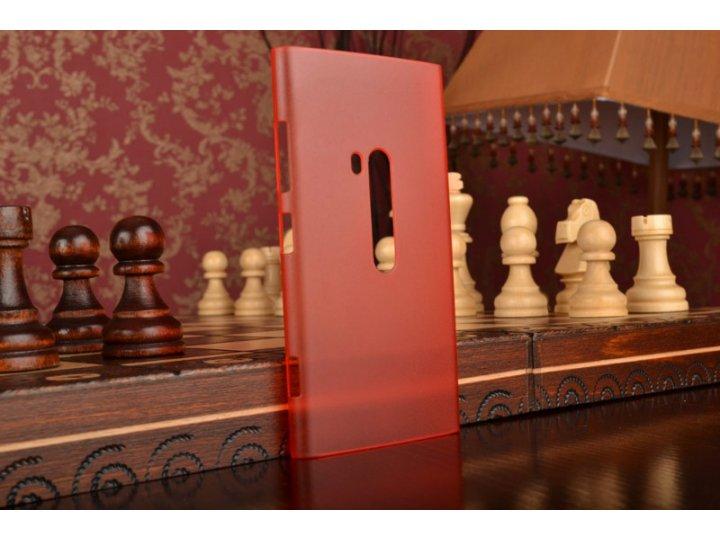 Задняя панель-крышка-накладка из тончайшего и прочного пластика для nokia lumia 920 красная полупрозрачная..