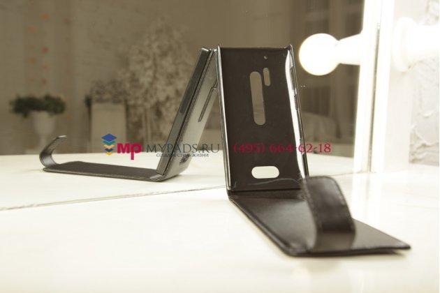 Вертикальный откидной чехол-флип для nokia lumia 928 черный кожаный