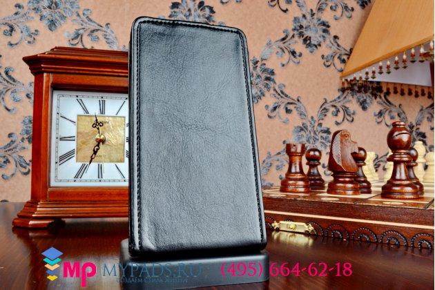 """Вертикальный откидной чехол-флип для nokia lumia 630/635/636 dual sim черный из импортной кожи """"prestige"""" италия"""