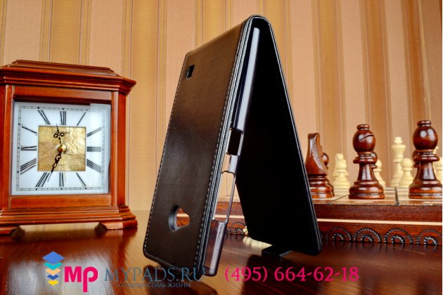 """Вертикальный откидной чехол-флип для nokia lumia 730 dual sim черный из импортной кожи """"prestige"""" италия"""
