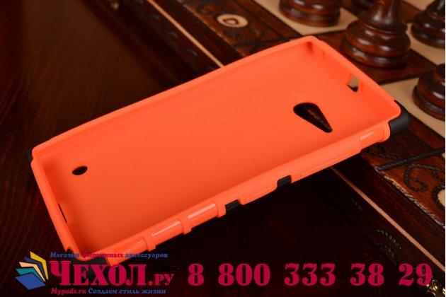 Противоударный усиленный ударопрочный чехол-бампер-пенал для nokia lumia 735 оранжевый