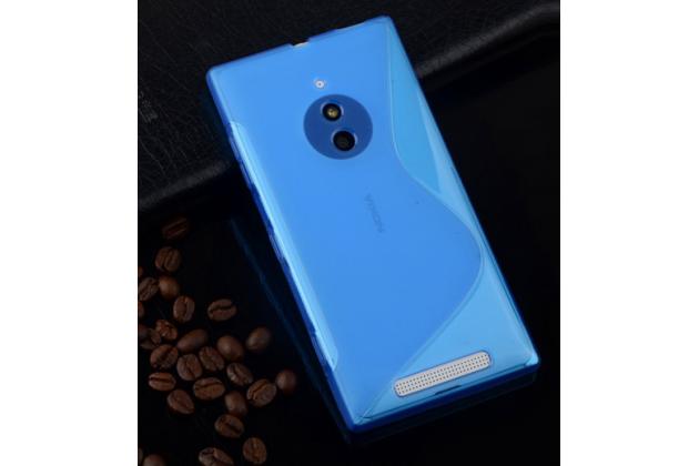 Ультра-тонкая полимерная из мягкого качественного силикона задняя панель-чехол-накладка для nokia lumia 830  голубая