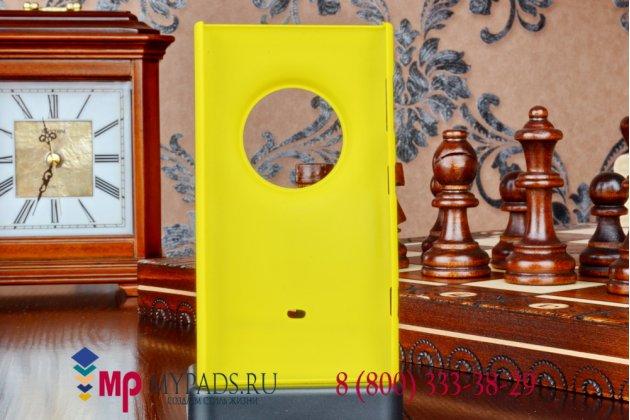 Задняя панель-крышка-накладка из тончайшего и прочного пластика для nokia lumia 830 желтая
