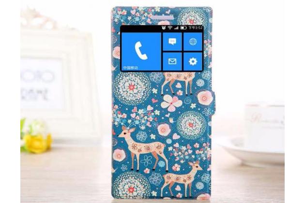 Чехол-книжка с безумно красивым расписным рисунком оленя в цветах на nokia lumia 830 с окошком для звонков