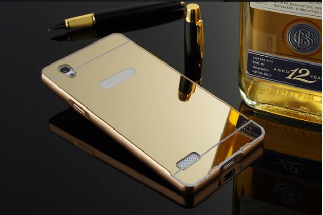 """Металлическая задняя панель-крышка-накладка из тончайшего облегченного авиационного алюминия для oppo mirror 5s"""" золотая"""