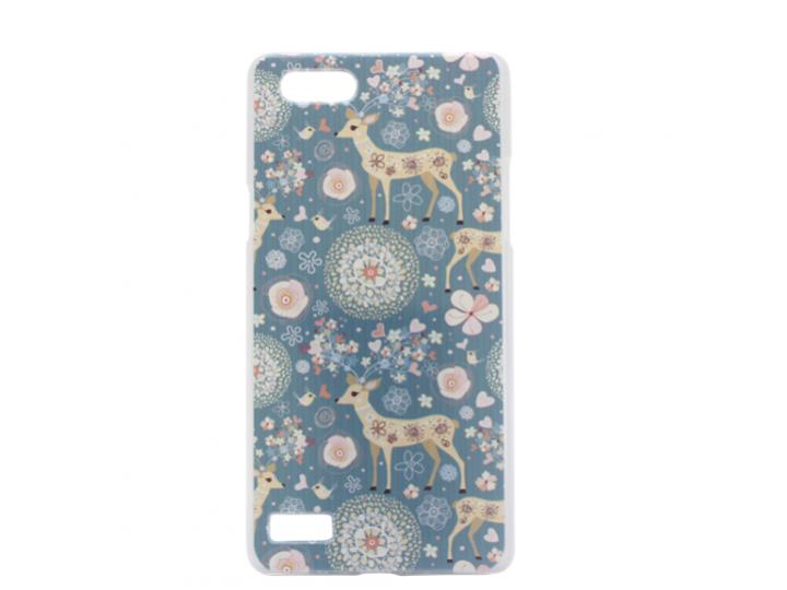 Пластиковая задняя панель-чехол-накладка с безумно красивым расписным рисунком оленя в цветах для oppo neo 7..