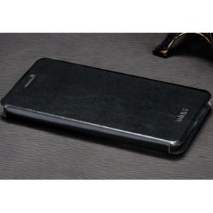 """Чехол-книжка  для oppo neo 7"""" из качественной водоотталкивающей импортной кожи на жёсткой металлической основе черного цвета"""