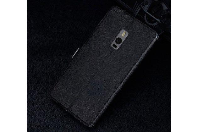 Чехол-книжка для oneplus 2 (two) a2001 черный кожаный с окошком для входящих вызовов и свайпом