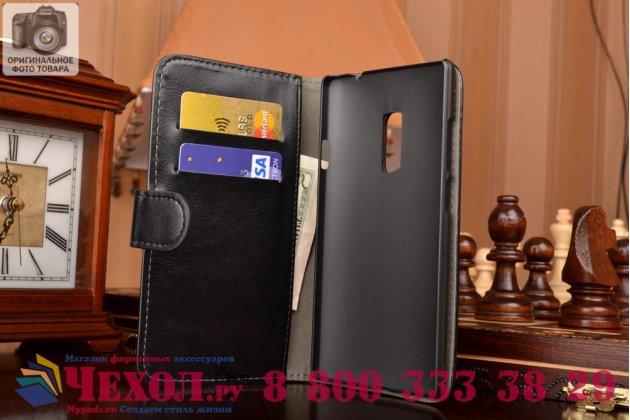 Чехол-книжка из качественной импортной кожи с мульти-подставкой застёжкой и визитницей для ванплюс 2 (ту) а2001 черный