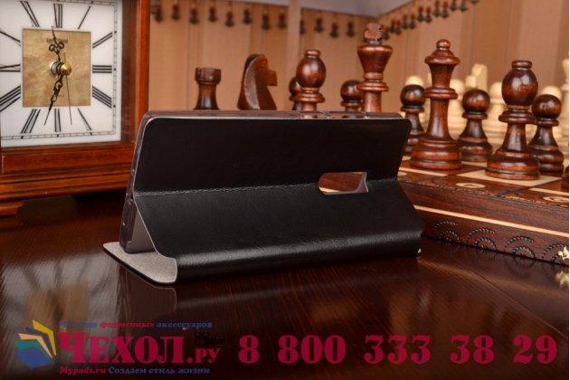Чехол-книжка из качественной водоотталкивающей импортной кожи на жёсткой металлической основе для oneplus 2 (two) a2001 черный