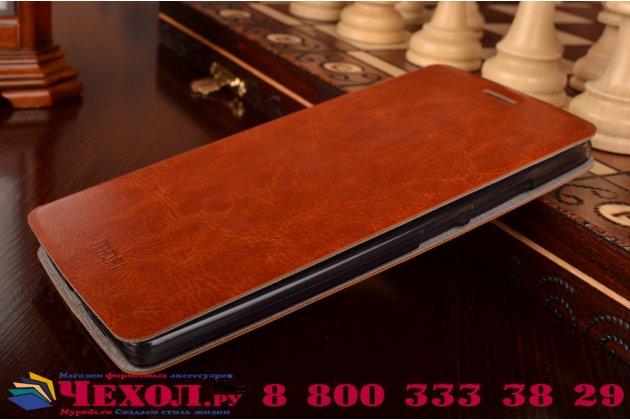 Чехол-книжка из качественной водоотталкивающей импортной кожи на жёсткой металлической основе для oneplus 2 (two) a2001 коричневый