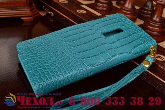 Чехол-книжка с подставкой для oneplus 2 (two) a2001 лаковая кожа крокодила цвет морской волны бирюзовый