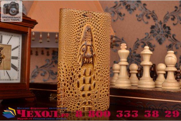Роскошный эксклюзивный чехол с объёмным 3d изображением кожи крокодила коричневый для oneplus 2 (two) a2001. только в нашем магазине. количество ограничено