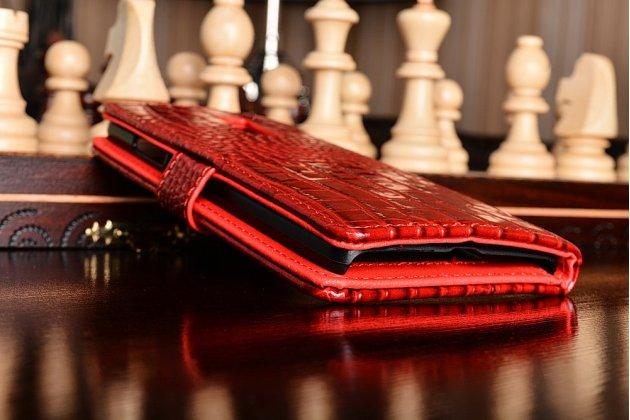 Чехол-книжка с подставкой для oneplus 2 (two) a2001 лаковая кожа крокодила алый огненный красный