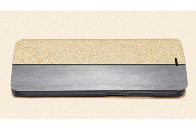 Чехол-книжка водоотталкивающий с мульти-подставкой на жёсткой металлической основе для oneplus 2 (two) a2001  золотой