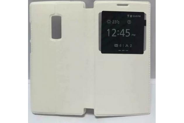 Чехол-книжка для oneplus 2 (two) a2001 белый кожаный с окошком для входящих вызовов