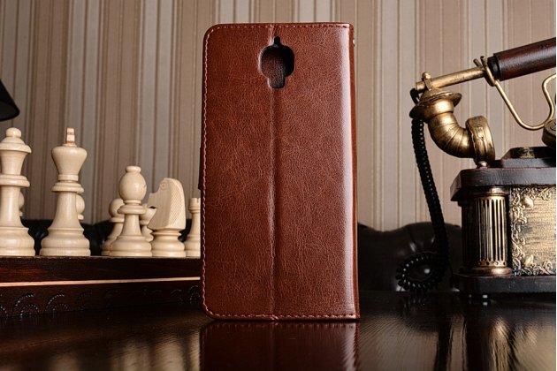 Чехол-книжка из качественной импортной кожи с подставкой застёжкой и визитницей для oneplus 3 коричневый
