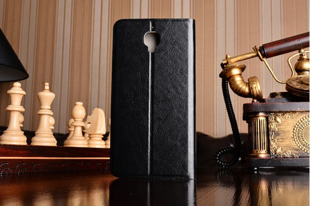 Чехол-книжка из качественной водоотталкивающей импортной кожи на жёсткой металлической основе для oneplus 3 черный