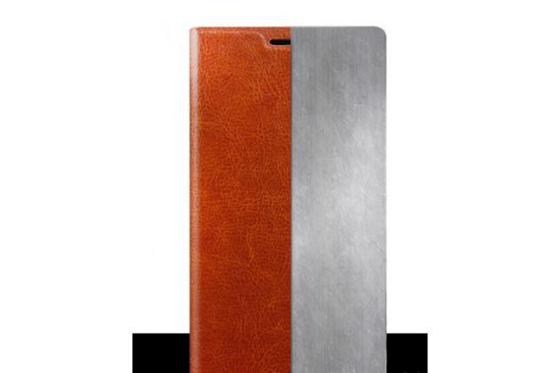 Чехол-книжка из качественной водоотталкивающей импортной кожи на жёсткой металлической основе для oneplus 3 коричневый