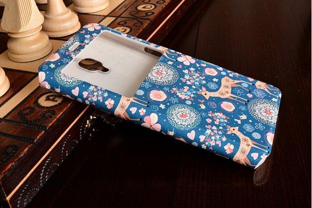 """Чехол-книжка с безумно красивым расписным рисунком оленя в цветах на  oneplus 3t a3010/ oneplus 3 a3000 / a3003""""  с окошком для звонков"""