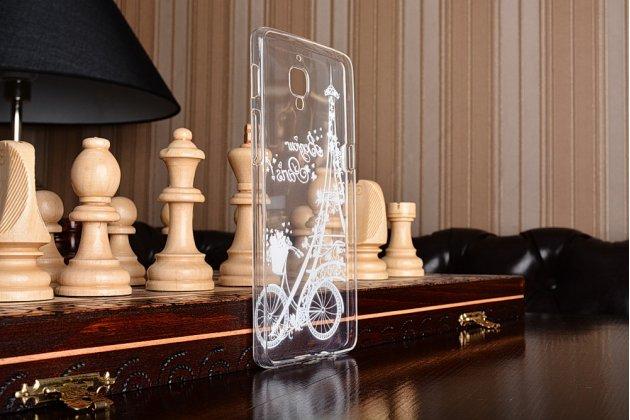 """Задняя панель-чехол-накладка из прозрачного 3d  силикона с объёмным рисунком для oneplus 3t a3010/ oneplus 3 a3000 / a3003"""" """"тематика франция"""" которая огибает логотип чтобы была видна марка телефона"""