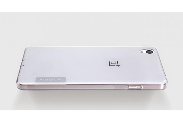 """Ультра-тонкая полимерная из мягкого качественного силикона  с заглушками задняя панель-чехол-накладка для oneplus x / one + x/ e1001 5.0"""" серебристая"""