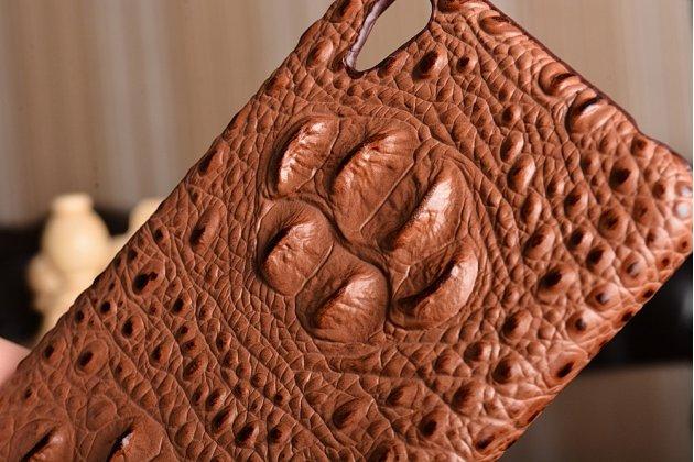 Неповторимая экзотическая панель-крышка обтянутая кожей крокодила с фактурным тиснением для oneplus x  коричневая. только в нашем магазине. количество ограничено.