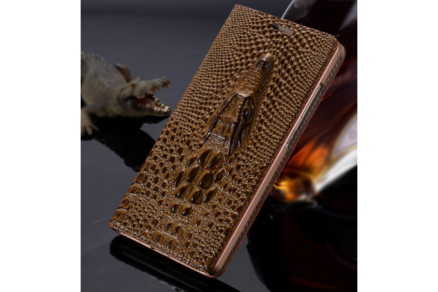 Роскошный эксклюзивный чехол с объёмным 3d изображением кожи крокодила коричневый для oneplus x . только в нашем магазине. количество ограничено