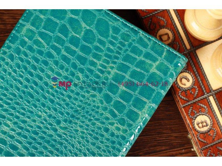 Лаковая блестящая кожа под крокодила чехол-обложка для samsung galaxy note 8.0 цвет морской волны..