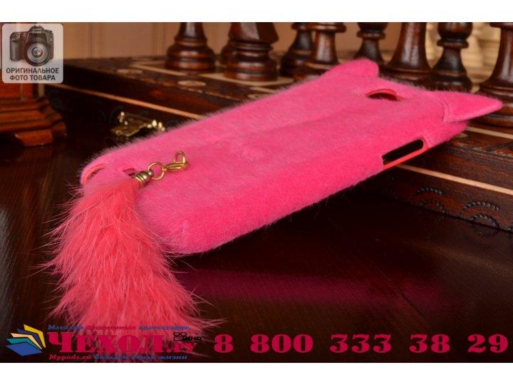 Меховой пушистый чехол-панель для samsung galaxy note 2 розовый