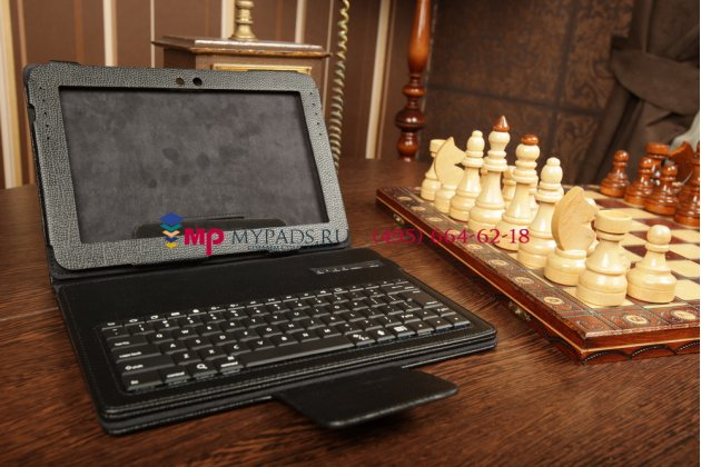 Чехол со съёмной bluetooth-клавиатурой для samsung galaxy note 10.1 n8000/n8010//n8013/n8020 черный кожаный + гарантия