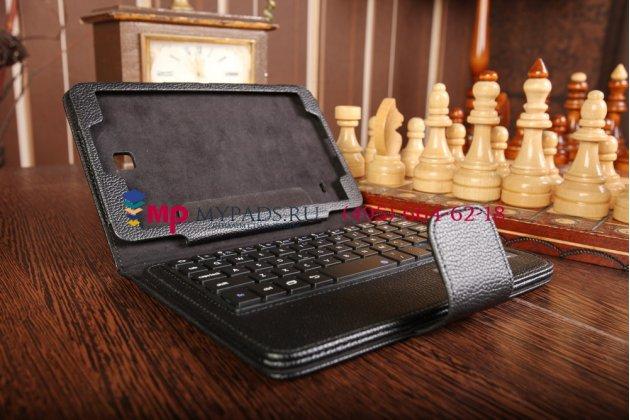 Чехол со съёмной bluetooth-клавиатурой для samsung galaxy tab 4 8.0 sm-t330/t331/t335 черный кожаный + гарантия