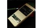"""чехол-книжка для samsung galaxy a7 2016 / a7100 / a710f / a7+  5.5""""   золотой кожаный с окошком для входящих вызовов и свайпом водоотталкивающий"""