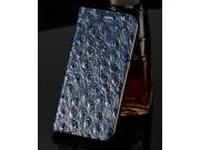 Фирменный роскошный эксклюзивный чехол с объёмным  рельефом кожи страуса синий для Samsung Galaxy S3 GT-I9300/..