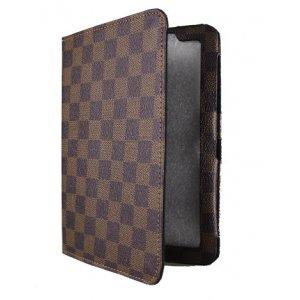 Чехол книжка-подставка для Samsung 7.7 P6800 в клетку коричневый кожаный