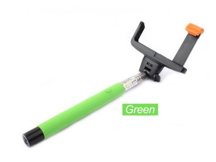 Бесповодная bluetooth селфи-палка/монопод для сэлфи с удобной прорезиненной ручкой зеленого цвета со встроенно..