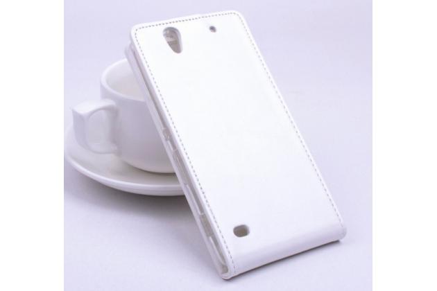Вертикальный откидной чехол-флип для sony xperia c4/ c4 dual белый из натуральной кожи