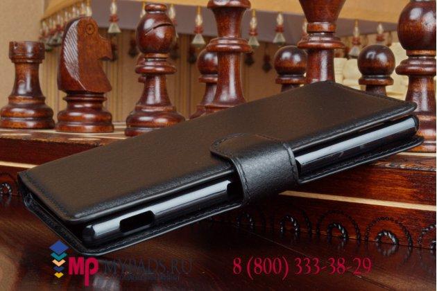 Чехол-книжка из качественной импортной кожи с подставкой застёжкой и визитницей для sony xperia m4 aqua e2303/e2306/e2312/e2333 черный