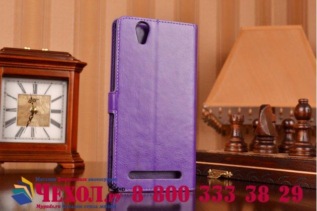Чехол-книжка из качественной импортной кожи с подставкой застёжкой и визитницей для sony xperia t2 ultra/ t2 ultra dual d5303/d5322 фиолетовый