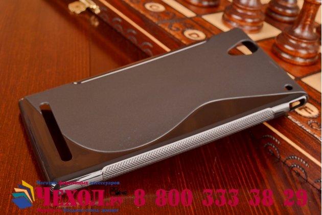 Ультра-тонкая полимерная из мягкого качественного силикона задняя панель-чехол-накладка для sony xperia t2 ultra/ t2 ultra dual d5303/d5322 черная