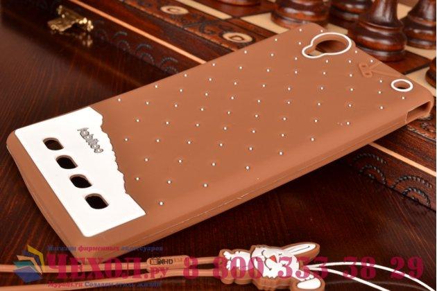 """Необычная уникальная полимерная мягкая задняя панель-чехол-накладка для sony xperia t2 ultra/ t2 ultra dual """"тематика андроид в тёмном шоколаде"""""""