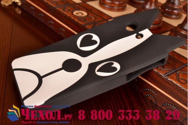 """Задняя панель-чехол-накладка с объёмным 3d изображением для sony xperia z3 compact d5803 """"тематика черно-белая собака"""""""