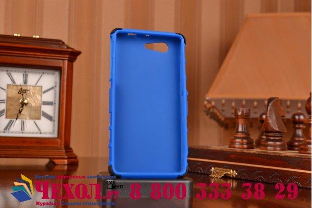 Противоударный усиленный грязестойкий чехол-бампер-пенал для sony xperia z3 compact d5803 синий