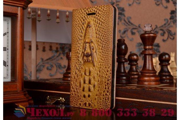 Роскошный эксклюзивный чехол с объёмным 3d изображением кожи крокодила коричневый для sony xperia z4 compact d6803 . только в нашем магазине. количество ограничено