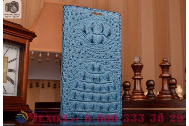 Роскошный эксклюзивный чехол с объёмным 3d изображением рельефа кожи крокодила синий для  sony xperia z4 compact d6803 . только в нашем магазине. количество ограничено
